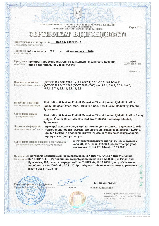 Сертификат соответствия на фурнитуру VORNE