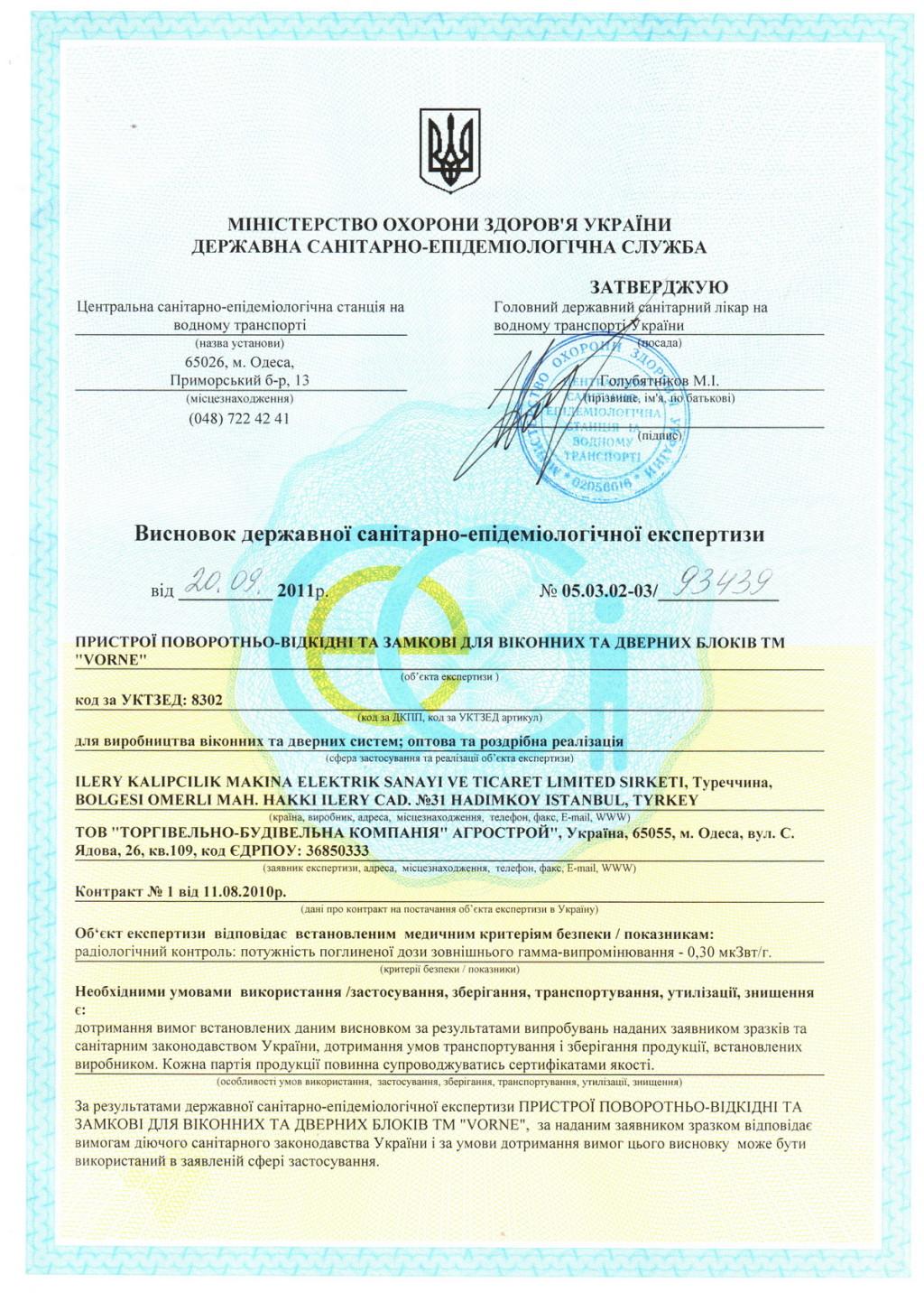 Сертификат гигиены на фурнитуру VORNE