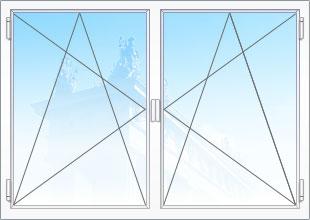 Поворотно-откидные двухстворчатые окна