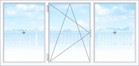Трехстворчатое металлопластиковое окно Киев