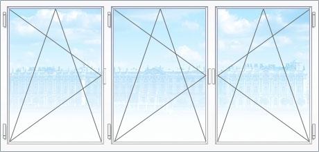 Трехстворчатые металлопластиковые окна
